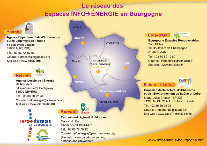 Carte du réseau Info énergie en Bourgogne