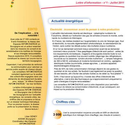 Lettre Info énergie en Bourgogne n°1