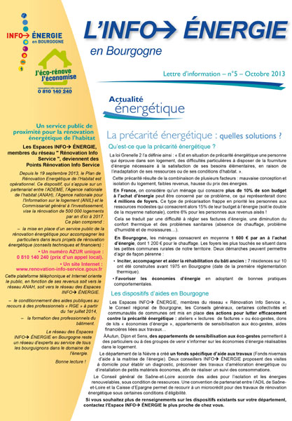 Lettre Info énergie en Bourgogne n°5
