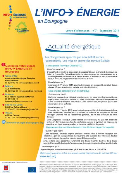 Lettre Info énergie en Bourgogne n°7