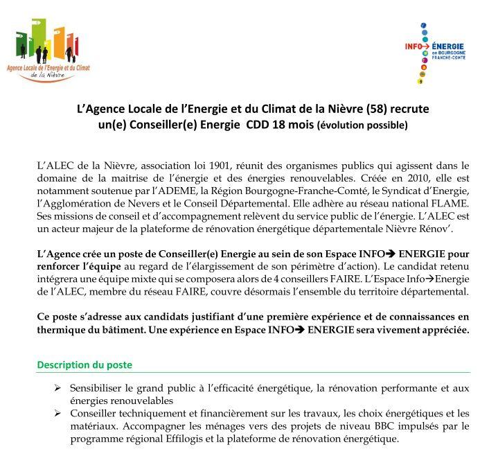 Offre d'emploi ALEC de la Nièvre juillet 2020