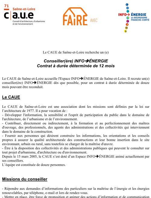 Offre d'emploi CAUESaône et Loire